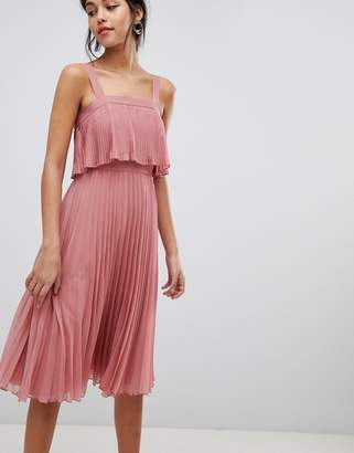 Asos Design DESIGN double layer pleated cami midi dress