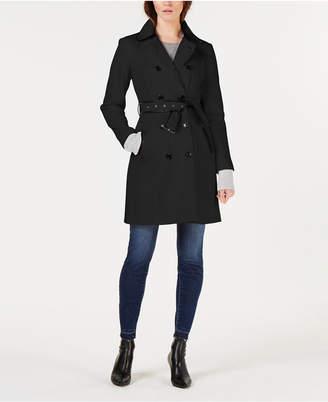 INC International Concepts I.n.c. Faux-Leather Trim Military Ponte-Knit Coat