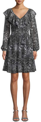 MICHAEL Michael Kors V-Neck Ruffle Long-Sleeve Paisley-Print Dress