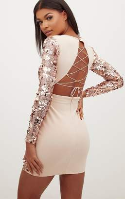 70b5ea33 PrettyLittleThing Rose Gold Sequin Front Long Sleeve Back Tie Detail  Bodycon Dress