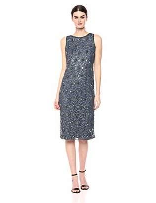 Pisarro Nights Women's Beaded Middy Dress with Diamond Motif