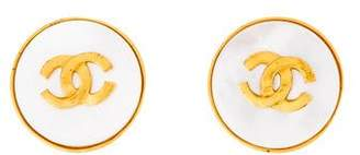Chanel Mother of Pearl & CC Logo Clip-On Earrings