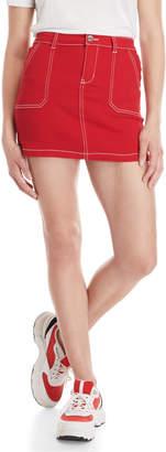 Almost Famous Porkchop Top Stitch High-Rise Denim Skirt