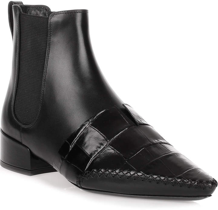 Dior Land black leather embossed chelsea boot