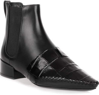 Christian Dior Land black leather embossed chelsea boot