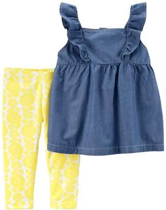 Carter's Toddler Girl Chambray Top & Yellow Floral Pattern Leggings