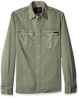 Scotch & Soda Men's Oversized Garment Dyed Workwear Shirt with Heavy wash and so