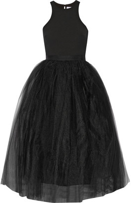 Elizabeth and James - Aneko Stretch-ponte And Tulle Midi Dress - Black $645 thestylecure.com