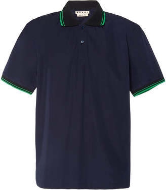 Marni Stripe-Detailed Cotton-Blend Pique Polo