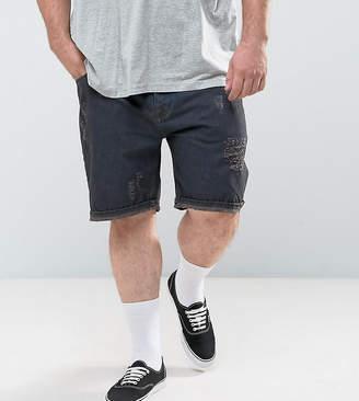 Asos Design DESIGN Plus slim denim shorts in black with rips
