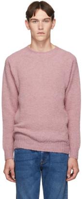 Officine Generale Pink Wool Seamless Crewneck Sweater
