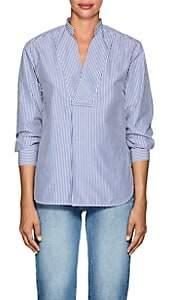 TOMORROWLAND Women's Striped Cotton Poplin V-Neck Blouse - Blue