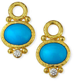 Elizabeth Locke 19k Turquoise & Diamond Earring Pendants