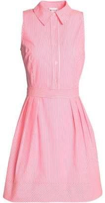 Milly Pleated Striped Cotton-Blend Poplin Shirt Dress