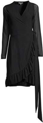 Ganni Dot Mesh Ruffle Wrap Dress