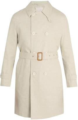 MACKINTOSH Point-collar linen overcoat