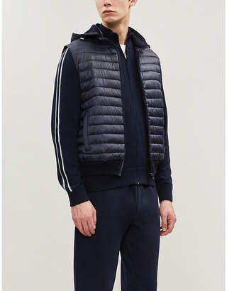 Corneliani Padded shell and knitted-cotton hooded gilet