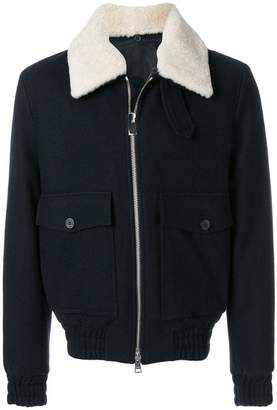 Ami Alexandre Mattiussi Shearling Collar Zipped Jacket