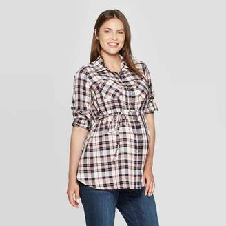 Ingrid & Isabel Isabel Maternity by Maternity Plaid Long Sleeve Collared Popover Tunic - Isabel Maternity by Cream