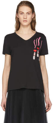 Valentino Black Lipsticks and Lips T-Shirt
