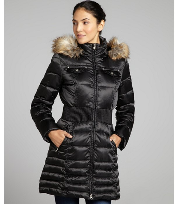 Laundry by Shelli Segal black quilted down filled and faux fur trim hooded coat