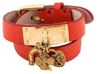 Dolce & Gabbana Leather Wrap Charm Bracelet