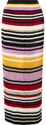 Carolina Herrera Pleated Striped Knitted Maxi Skirt - Pink