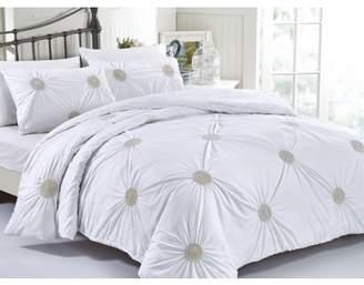 California Design Den Tahiti Pearl 3-Piece Cotton White Duvet Cover Bedding Set, White Metallic Gold Duvet Covers Full/Queen, Standard Decorative Pillow Shams
