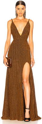 PatBO Pleated Lurex Gown in Copper | FWRD