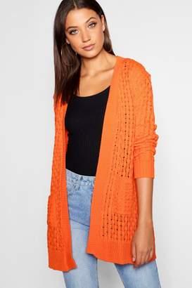 boohoo Tall Honeycomb Knit Edge To Edge Cardigan