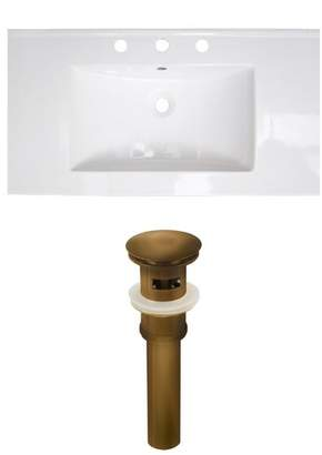 "RoyalPurpleBathKitchen Flair Ceramic 37"" Single Bathroom Vanity Top Faucet Mount: 4"" Centers, Drain"