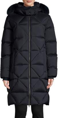 Colmar Fox Fur-Trim Hooded Long Jacket