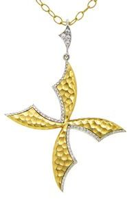 Cathy Waterman Scimitar Cross Pendant with Diamonds - 22 Karat Gold | Platinum