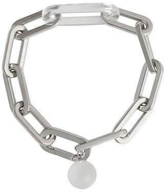 Burberry Glass Charm Palladium-plated Link Bracelet