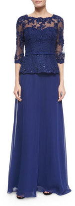 La Femme Lace-Bodice Tulle Gown, Navy $490 thestylecure.com
