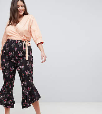 Fashion Union Plus Pants With Ruffle Hem In Vintage Floral