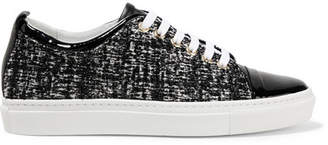 Lanvin - Patent Leather-trimmed Tweed Sneakers - Black $570 thestylecure.com