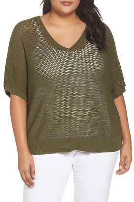Sejour Open Stitch Cotton Sweater (Plus Size)