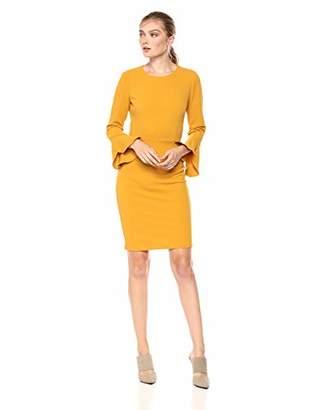 Donna Morgan Women's Long Ruffle Sleeve Sheath Dress