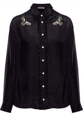Markus Lupfer Cleo Ruffle-Trimmed Embellished Silk Shirt