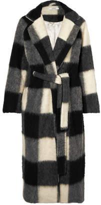 Ganni Mckinney Checked Brushed-felt Coat - Gray