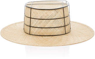 Janessa Leone Laird boater hat with metal cage