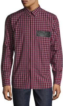 Givenchy Men's Plaid Pocket Patch Sportshirt