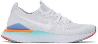 Nike White and Grey Epic React Flytknit 2 Sneakers