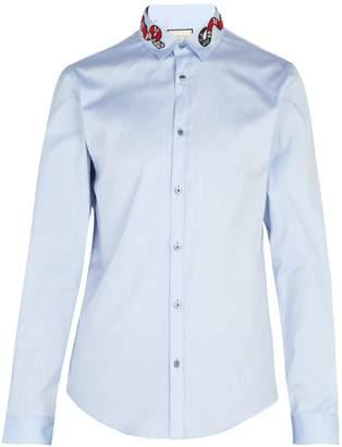 Gucci Snake-appliqué cotton shirt