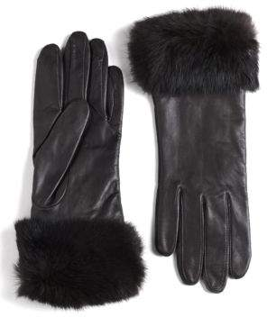 Lord & Taylor Leather Rabbit Fur-Cuff Gloves