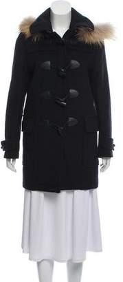 Burberry Nova Check-Trimmed Hooded Coat