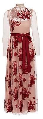 RED Valentino Women's Illusion Floral Applique Midi Dress