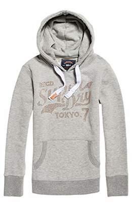 Superdry Women's Tokyo 7 Rstone College Entry Hood Jumper, (Grey Marl 07Q), (Size: 10)