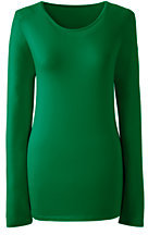 Lands' End Women's Shaped Layering Crewneck T-shirt-Gemstone Teal $29.50 thestylecure.com